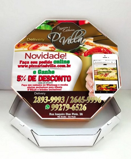 Embalagem de Pizza Personalizada Preço Vila Esperança - Embalagem Caixa de Pizza